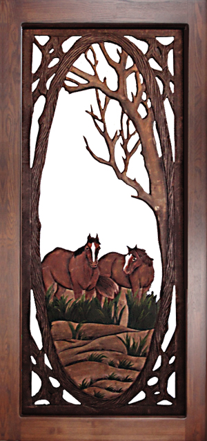 Horses Screen Door